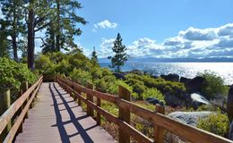 Boardwalk View Lake Tahoe. Sand Harbor State Beach and Park has a wonderful boardwalk that you can take in spectacular views of Lake Tahoe Stock Images