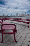 Boardwalk View of Manhattan Royalty Free Stock Images