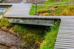 Boardwalk w Reykjadalur Gorących wiosnach, Iceland Zdjęcie Royalty Free