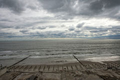 Boardwalk was washed away during Hurricane Sandy Royalty Free Stock Photo