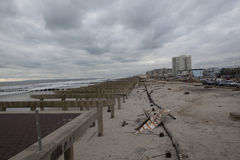 Boardwalk was washed away during Hurricane Sandy Stock Image