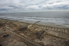 Boardwalk was washed away during Hurricane Sandy Royalty Free Stock Image