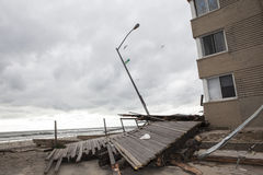 Boardwalk was washed away during Hurricane Sandy Royalty Free Stock Images