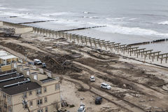 Boardwalk was washed away during Hurricane Sandy Royalty Free Stock Photos