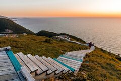 Free Boardwalk With Wooden Steps At Cabot Trail, Cape Breton Highlands National Park Stock Photos - 187777493