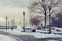 boardwalken räknade snow Arkivbilder