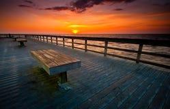 boardwalksoluppgång Royaltyfri Bild