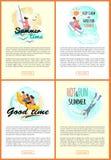 Boas aventuras do verão do tempo, grupo do Web site do beira-mar ilustração royalty free