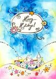 Boas festas cartão Fotografia de Stock Royalty Free