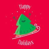 Boas festas Cartão com a árvore de Natal do divertimento em pequenos trenós Vetor Imagens de Stock Royalty Free