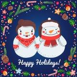 Boas festas cartão do vetor dos pares dos bonecos de neve dos desenhos animados ilustração stock