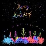 Boas festas crachá com rotulação escrita à mão, caligrafia com fundo escuro para o logotipo, bandeiras, etiquetas, cartão, convit Foto de Stock