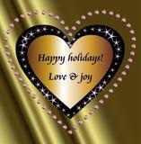 Boas festas deseja e stars o coração Imagem de Stock Royalty Free