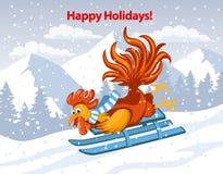 Boas festas, Feliz Natal e cartão 2017 do ano novo feliz Fotos de Stock Royalty Free