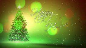 Boas festas mão escrita com árvore de Natal