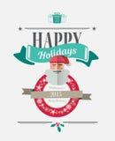 Boas festas mensagem com ilustrações Fotos de Stock Royalty Free