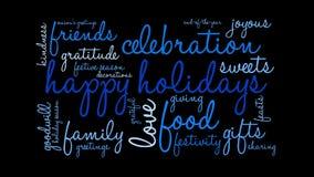 Boas festas nuvem animado da palavra ilustração stock