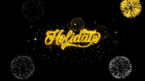 Boas festas partículas douradas piscar do texto com exposição dourada dos fogos de artifício