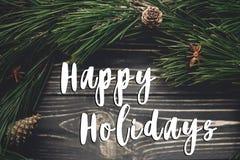 Boas festas sinal do texto, cartão rusti à moda do Natal imagens de stock royalty free