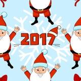 Boas festas teste padrão com Papai Noel e flocos de neve Fotos de Stock