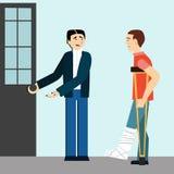 Boas maneiras o homem abre a porta a desabilitou etiquette Homem em muletas Pé quebrado homem polido ilustração stock