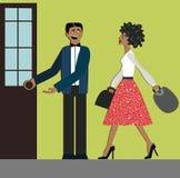 Boas maneiras o homem abre a porta para a mulher etiquette decorum Mulher da compra vestido elegante e montes Mulher africana ilustração royalty free