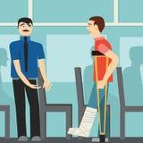 Boas maneiras o homem no ônibus leva a desabilitou etiquette Homem em muletas ilustração royalty free