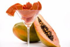 Boasting meat tenderizing powers - the Pawpaw frui. Peeled slices of the juicy and succulent pulp of the pawpaw fruit arranged in a cocktail glass Royalty Free Stock Photos