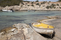 Boasts in Portinatx Port; Ibiza, Balearic Islands Stock Photos