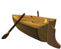 Boat 01. One boat made on wood and with rowing Stock Photos