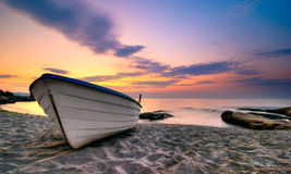 A boat. At  sunrise in summer Stock Image