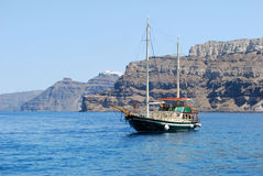 Boat. Photo of Greek boat near Santorini island, Greece Stock Images