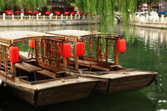 Boat. A boat of old Chinese style stopped in quiet river Royalty Free Stock Photo