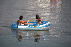 Boat. With couple Stock Image