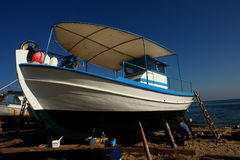 Boat. On painting, Thassos yard royalty free stock photos