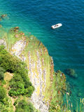 Boat. The lake Garda in Italy, the picture has been taken from the top of a hill stock photos