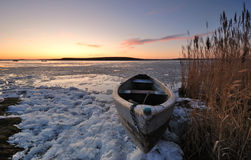 Boat. On the lake one winter day Royalty Free Stock Photo