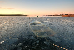Boat. Trapped in the ice Stock Photo