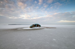 Boat. A boat caught in the ice Stock Photography