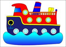 Boat. Children water travel blue red Royalty Free Stock Image