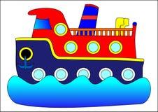 Boat. Children water travel blue red stock illustration