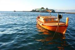 Boat. Orange boat on adriatic sea Stock Image