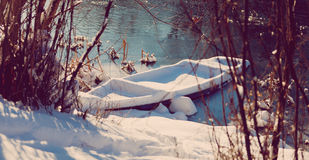 Boat. Under the snow, winter Royalty Free Stock Images