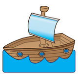 Boat. A wooden boat with a mast (or a toy boat) floating in water stock illustration