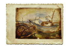 Boat. On the coast after the storm - watercolor painting Stock Image