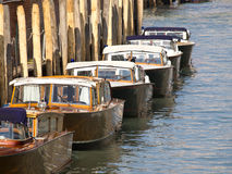 Boat. Traditional Wooden boats on canal in venice Royalty Free Stock Photos