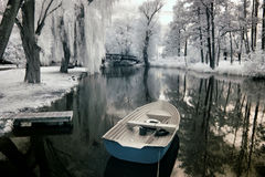Boat. In Poland, Poland. The infrared image Royalty Free Stock Images