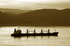 Boat. Image of a transportation ship leaving the harbour Royalty Free Stock Images