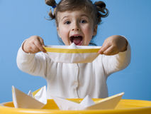 Boat. Happy girl playing with paper boats Royalty Free Stock Image