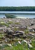 Boat. On a river in Maine near Moosehead Lake royalty free stock photography